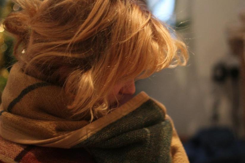 Roo in blanket, hiding face